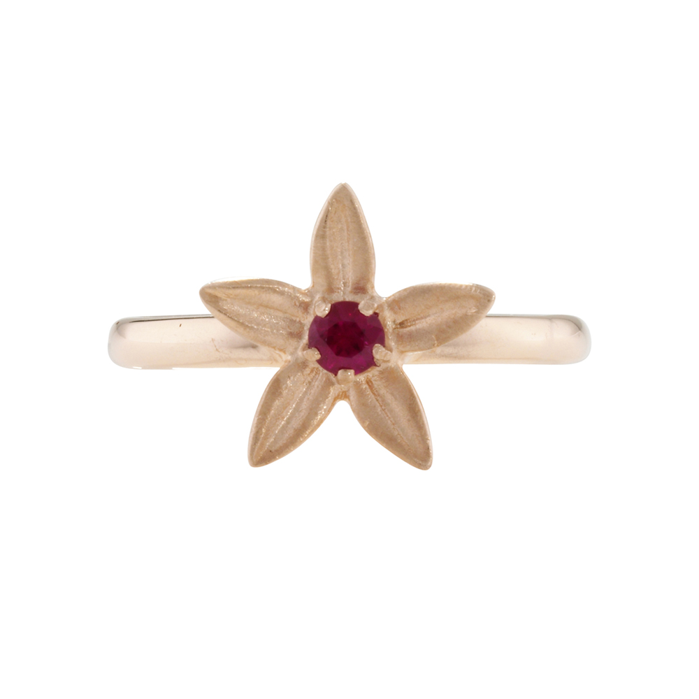 Designer Rose Gold Ruby Starflower Ring