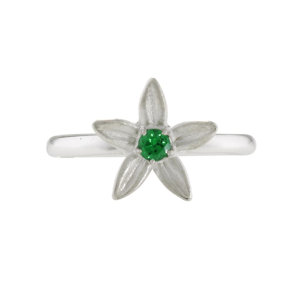 Tsavorite garnet starflower ring white gold