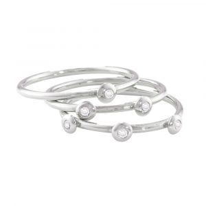 White gold diamond stack rings