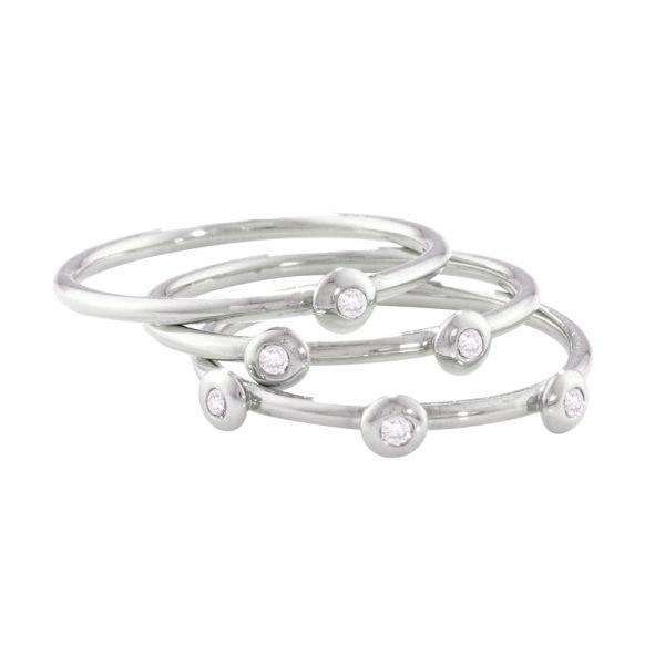 White gold diamond stack rings