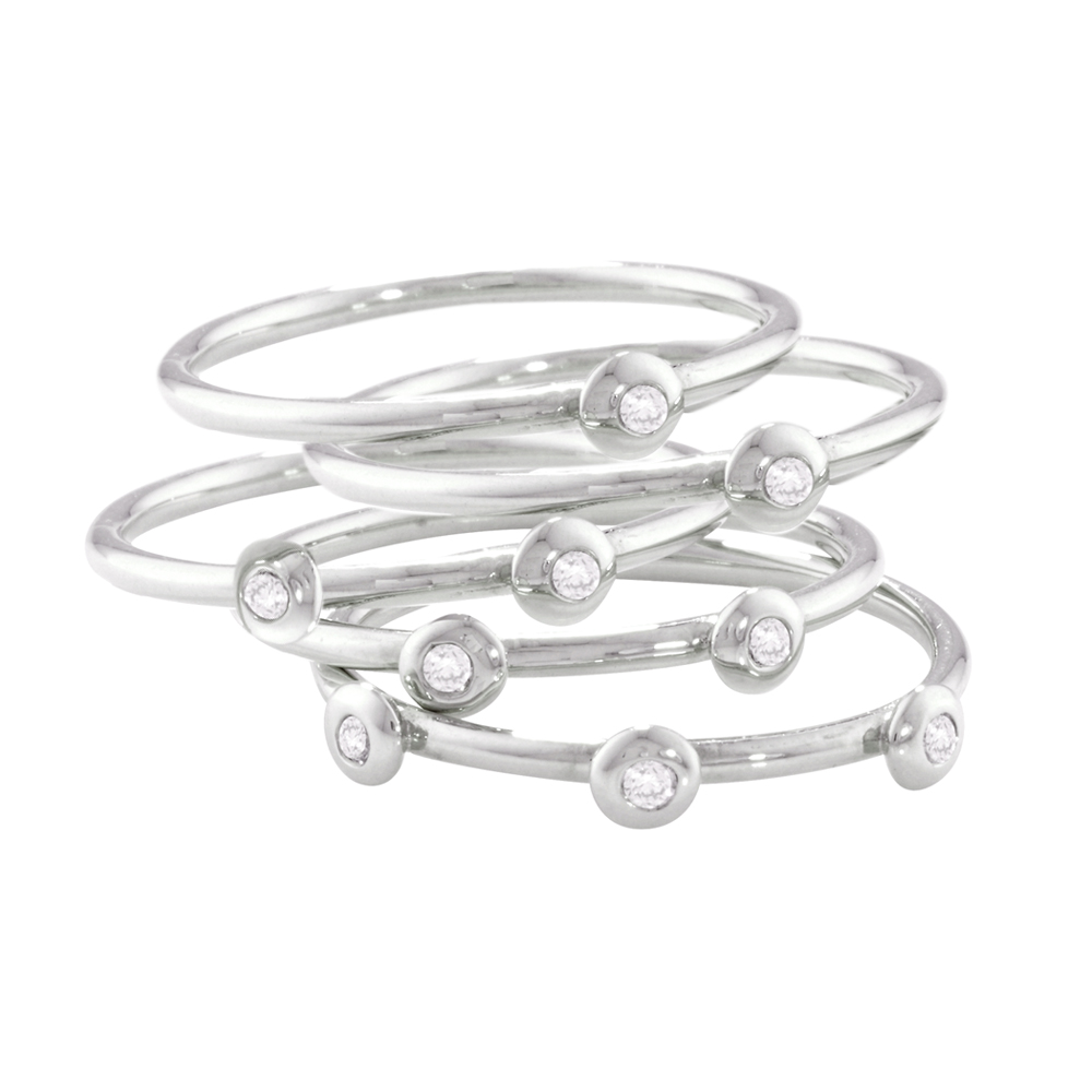 Elegant Raindrop White Gold Diamond Stacking Rings
