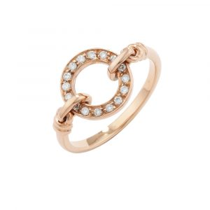 Diamond meridian ring rose gold