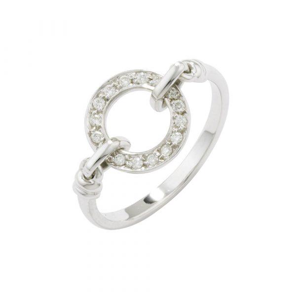 Diamond meridian ring white gold