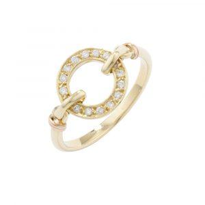 Diamond meridian ring yellow gold
