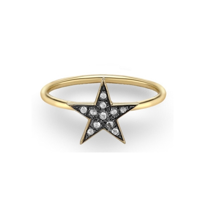 Diamond star ring yellow gold