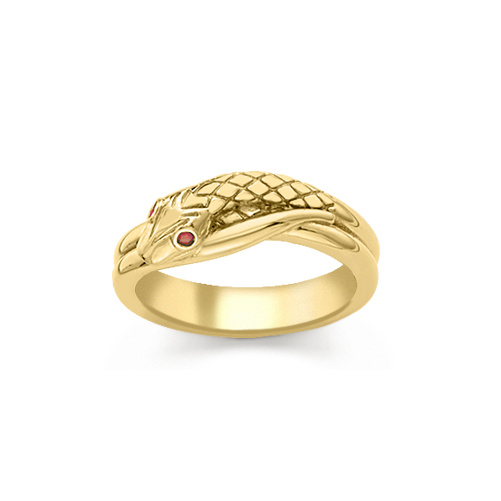 Ruby serpent snake ring yellow gold