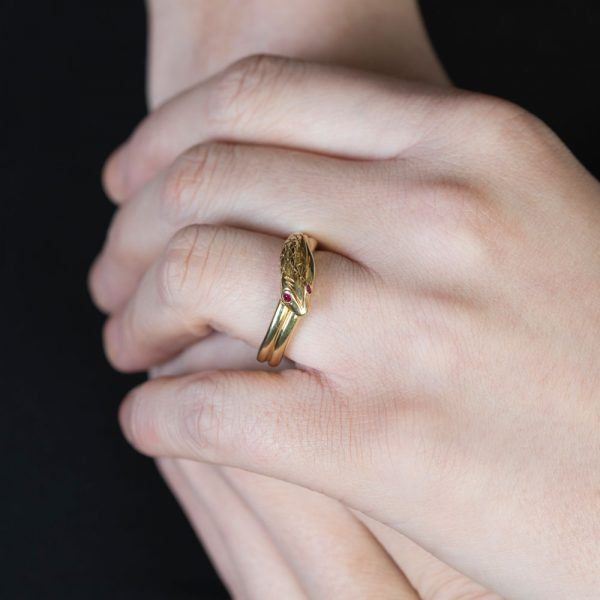Yellow gold ruby snake ring