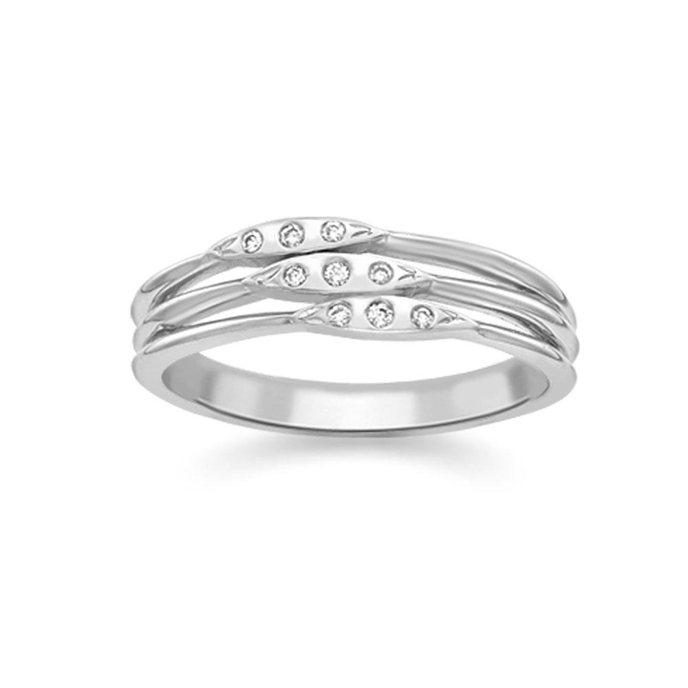 Modern White Gold Diamond 3 Row Velvet Leaf Ring
