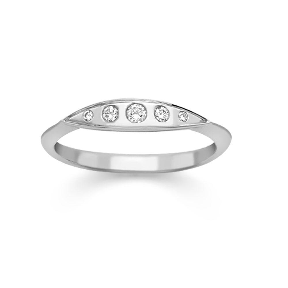 Modern White Gold Diamond Velvet Leaf Single Row Ring