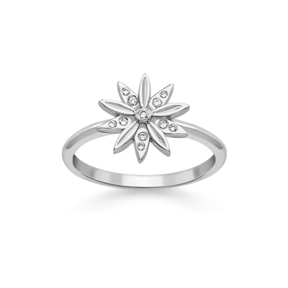 Stylish White Gold Diamond Velvet Leaf Snowflake Cluster Ring