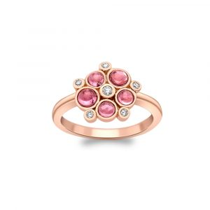 Diamond and pink tourmaline bubble cluster ring rose gold