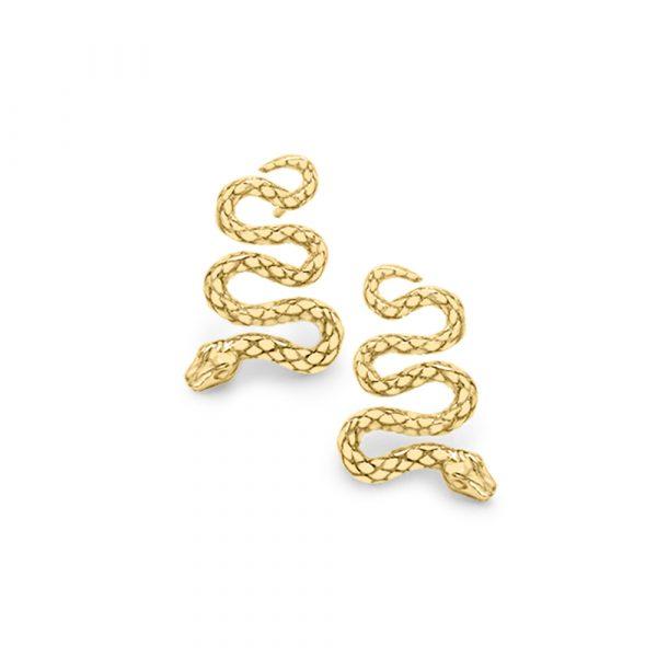 Serpent snake drop stud earrings yellow gold