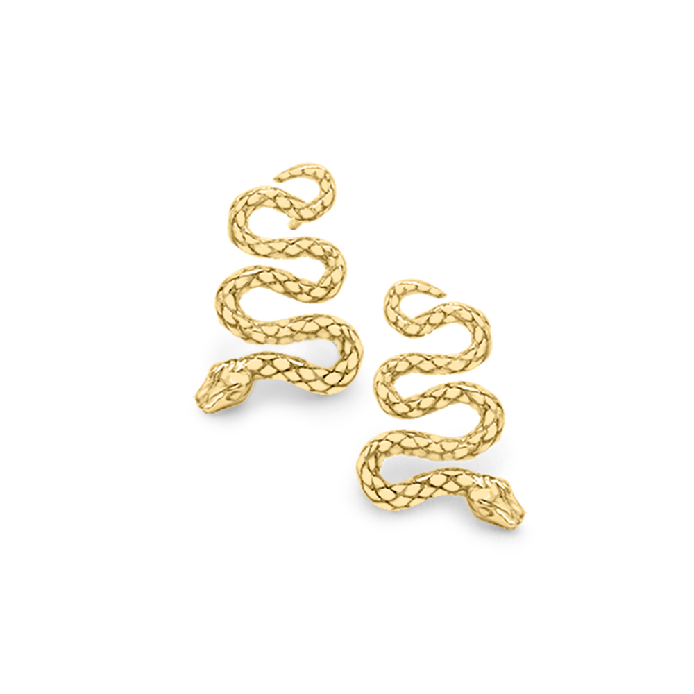 Serpent snake drop stud earrings yellow gold