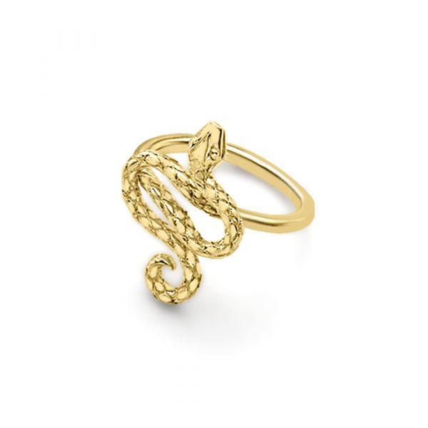 Serpent snake ring yellow gold
