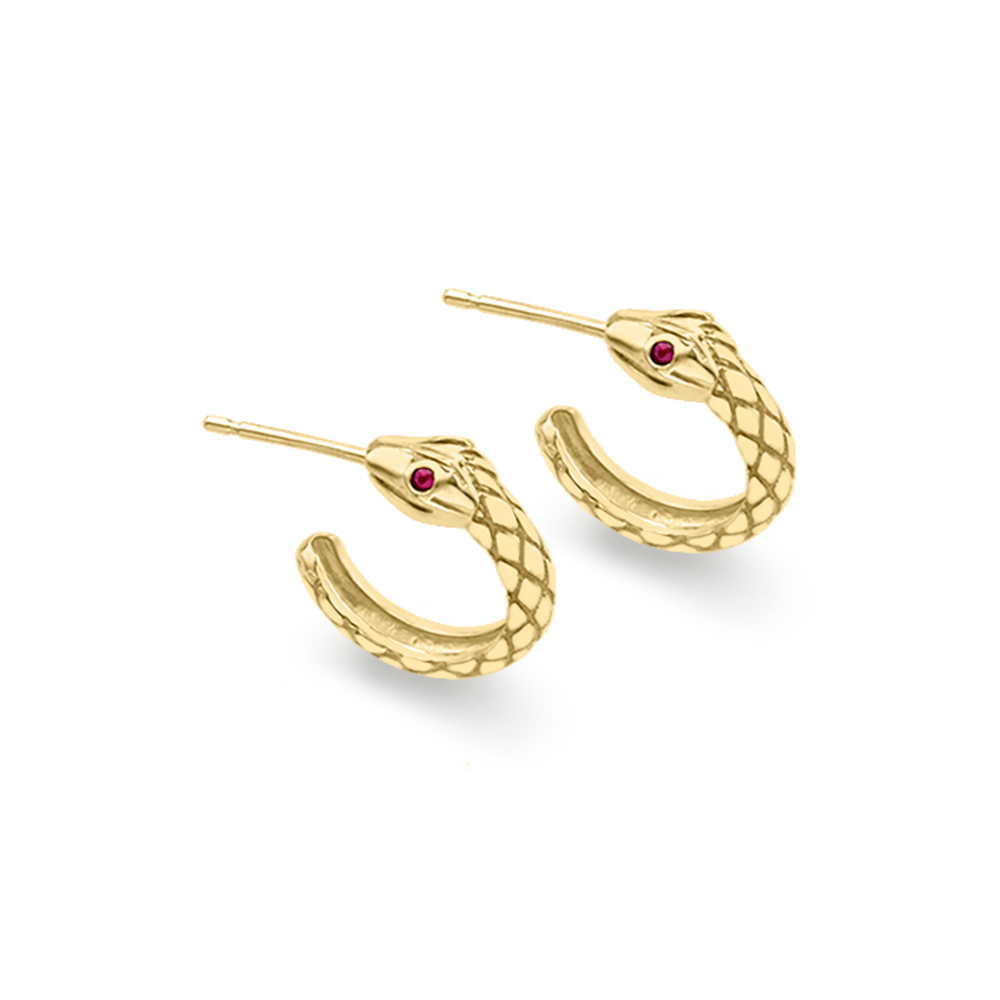 yellow gold snake earrings with ruby eyes