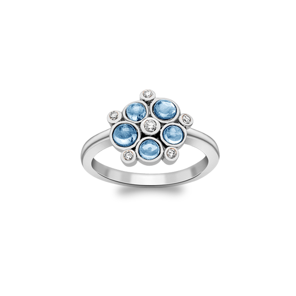 Diamond and blue topaz bubble cluster ring white gold