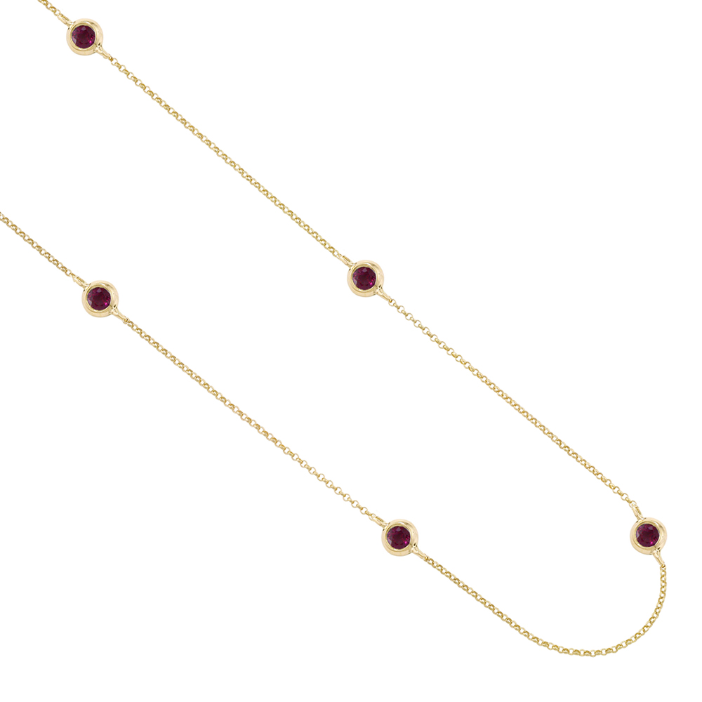 Chic Yellow Gold Ruby Raindrop Necklace