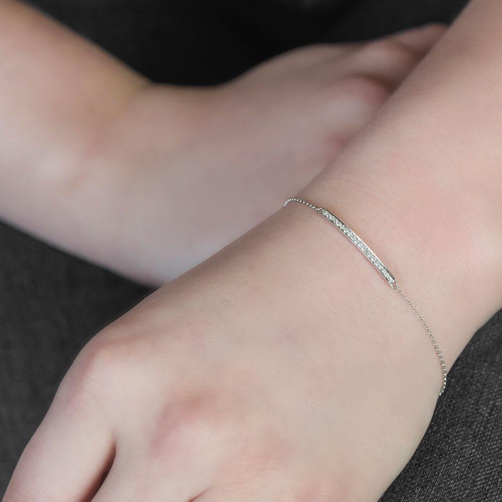 White gold diamond bar Geo bracelet