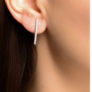 White gold diamond drop earrings