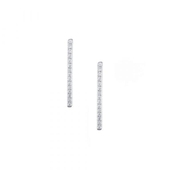 White gold diamond Geo bar earrings