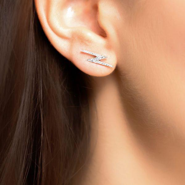 White gold diamond Geo earrings