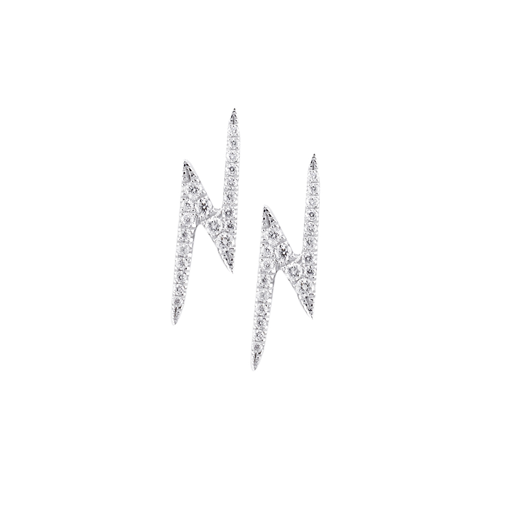 White gold diamond Geo zig zag earrings