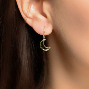 Yellow gold moon drop earrings
