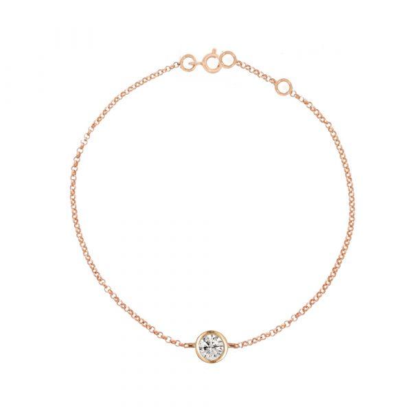 Rose gold diamond solitaire Raindrop bracelet