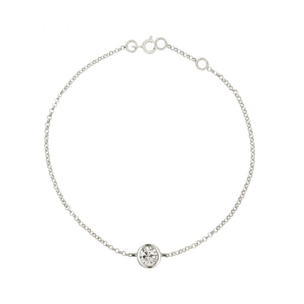 White gold diamond solitaire Raindrop bracelet