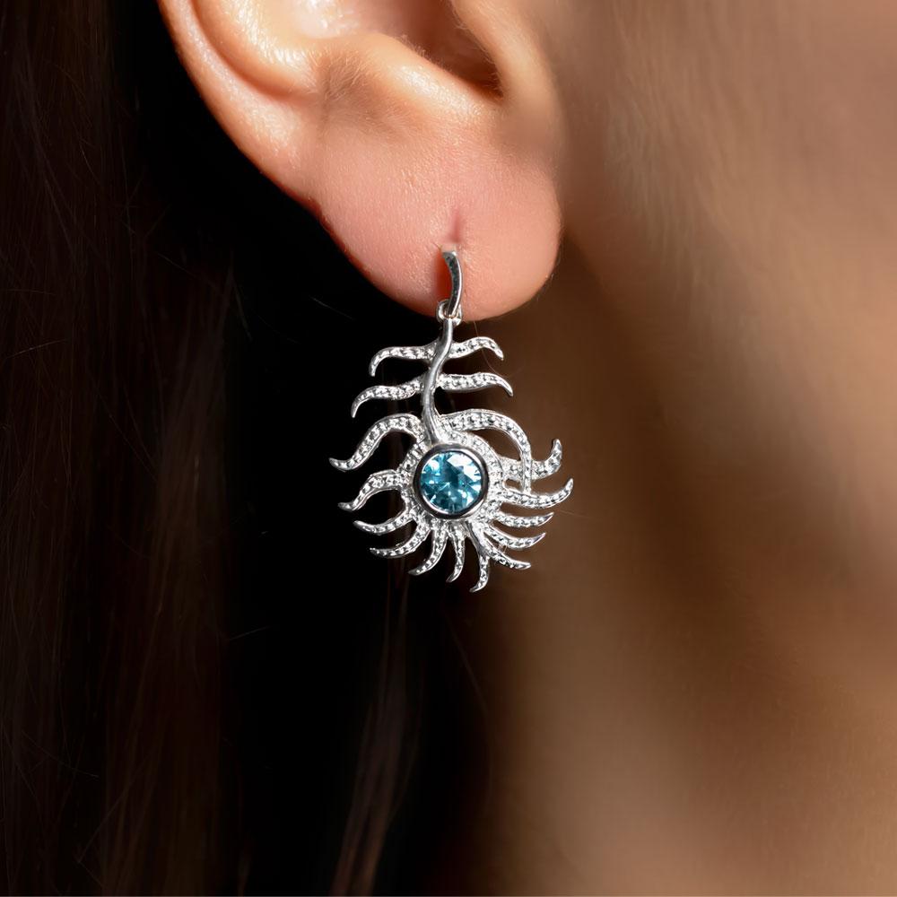 White gold blue zircon Peacock drop earrings