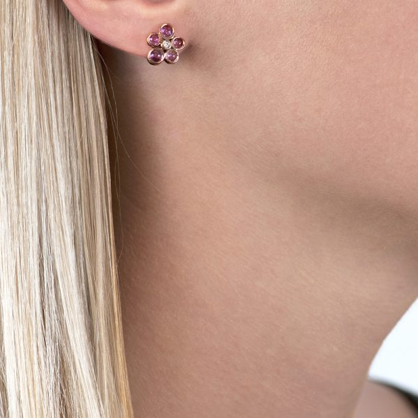 Rose gold diamond and pink tourmaline cluster Bubble stud earrings