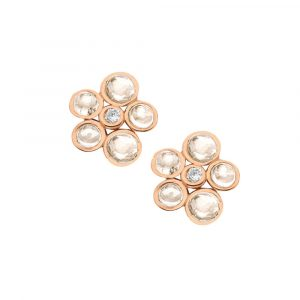Diamond and moonstone bubble cluster stud earrings rose gold