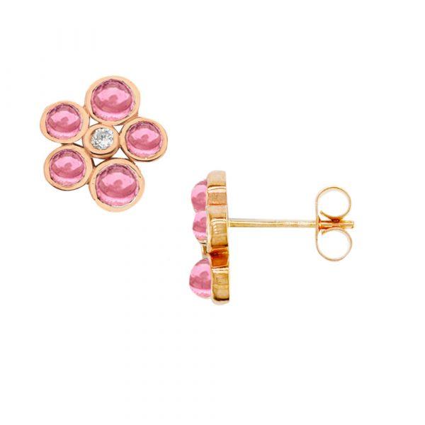 Rose gold pink tourmaline diamond Bubble earrings