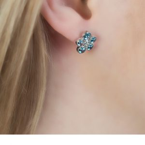White Gold Diamond Blue Topaz Bubble Cluster Earrings