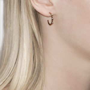 Rose Gold Diamond Raindrop Hoop Earrings