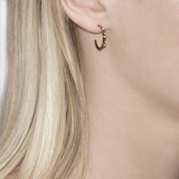 Rose Gold Diamond Raindrop Hoop Earrings