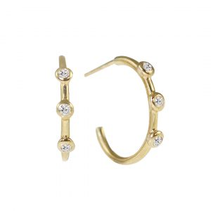Yellow gold three diamond hoop earrings