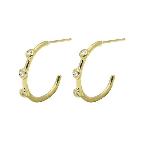 Gold Diamond Hoop Earrings