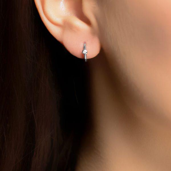 White gold diamond hoop earrings