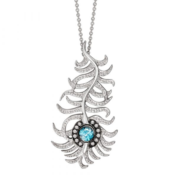 Diamond and blue zircon peacock pendant white gold