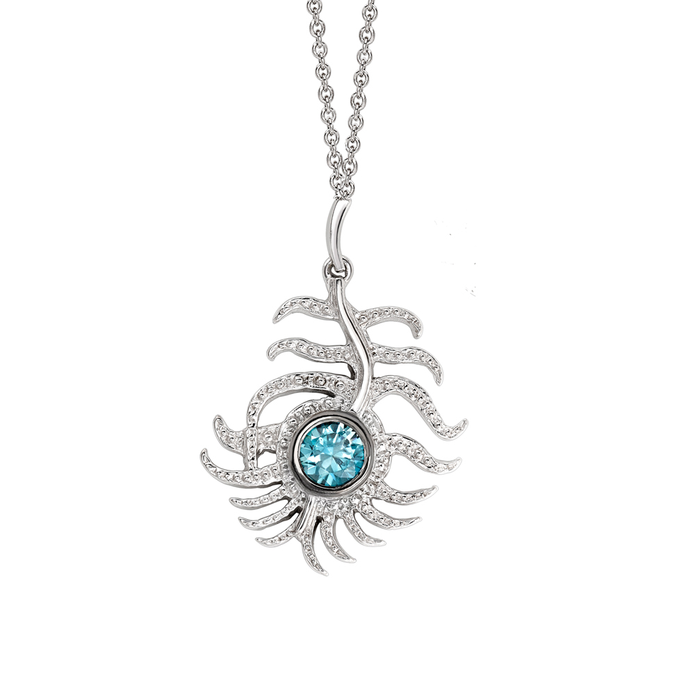Blue zircon peacock pendant white gold