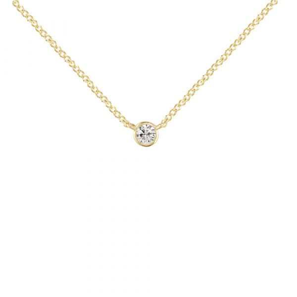 Yellow gold diamond solitaire Raindrop pendant