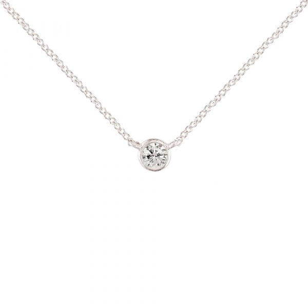 White gold diamond solitaire Raindrop pendant