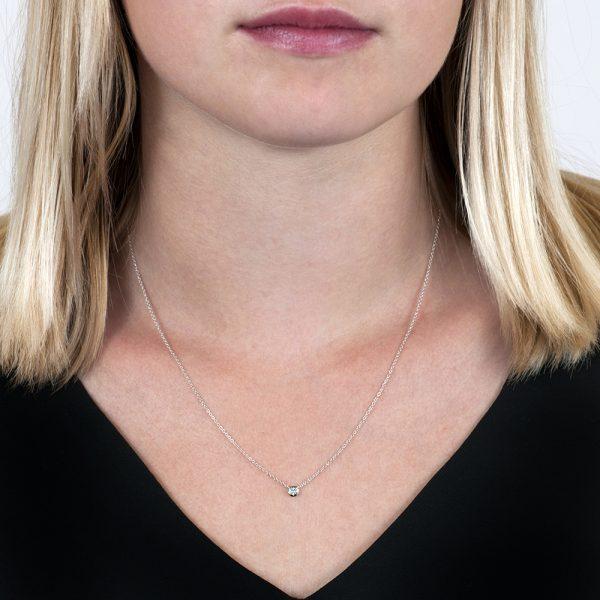 White gold diamond solitaire Raindrop necklace