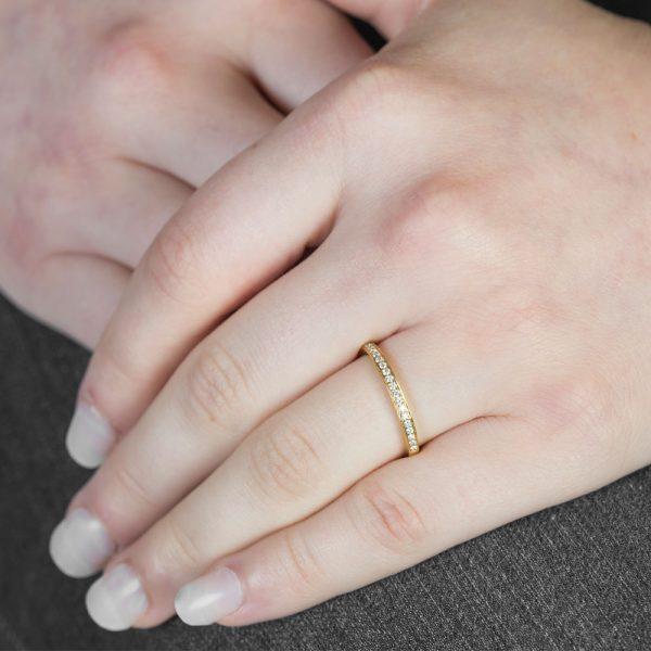Diamond Yellow Gold Grain Set Stack Ring