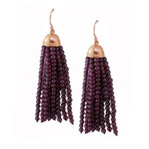 Garnet tassel drop earrings rose gold