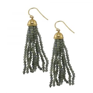 Labradorite tassel drop earrings yellow gold