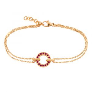 Rose gold ruby circle bracelet