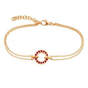 Rose gold ruby circle Meridian bracelet