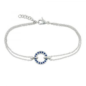 White gold sapphire circle bracelet